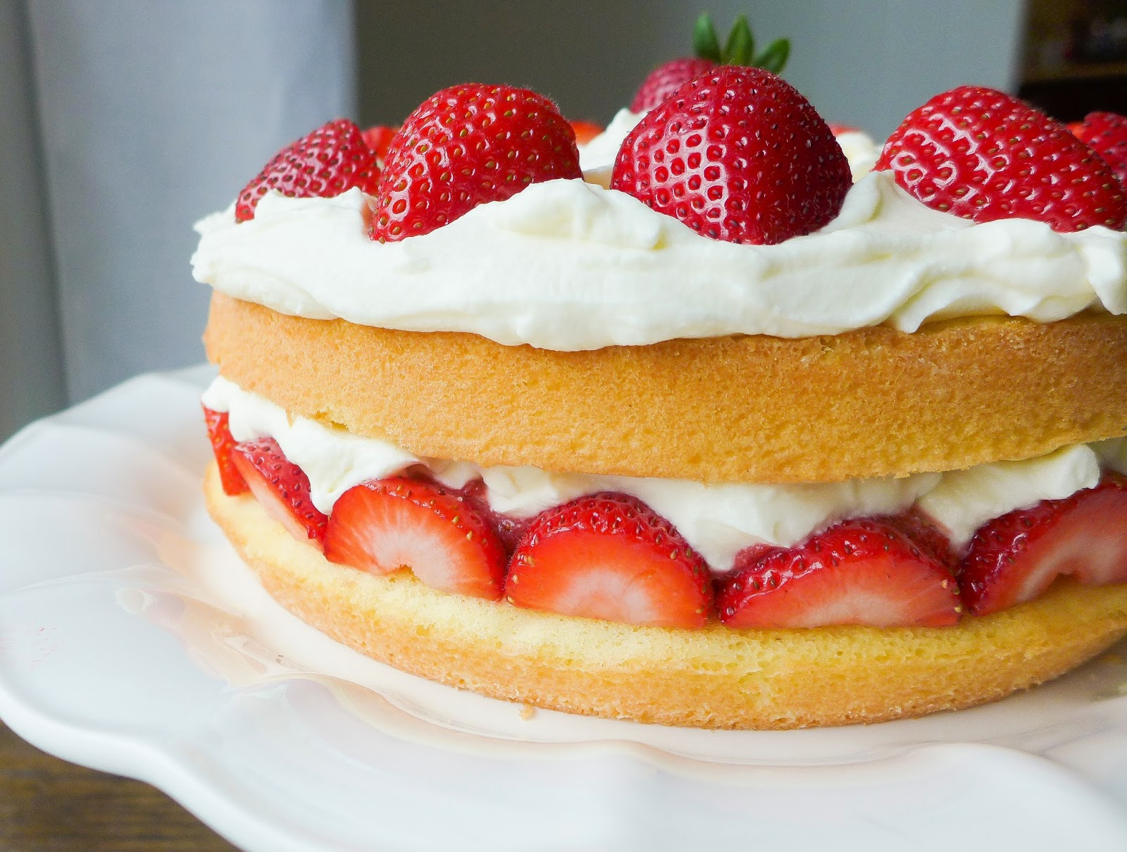 Strawberry Cream Cake (adapted from Cooks Illustrated )