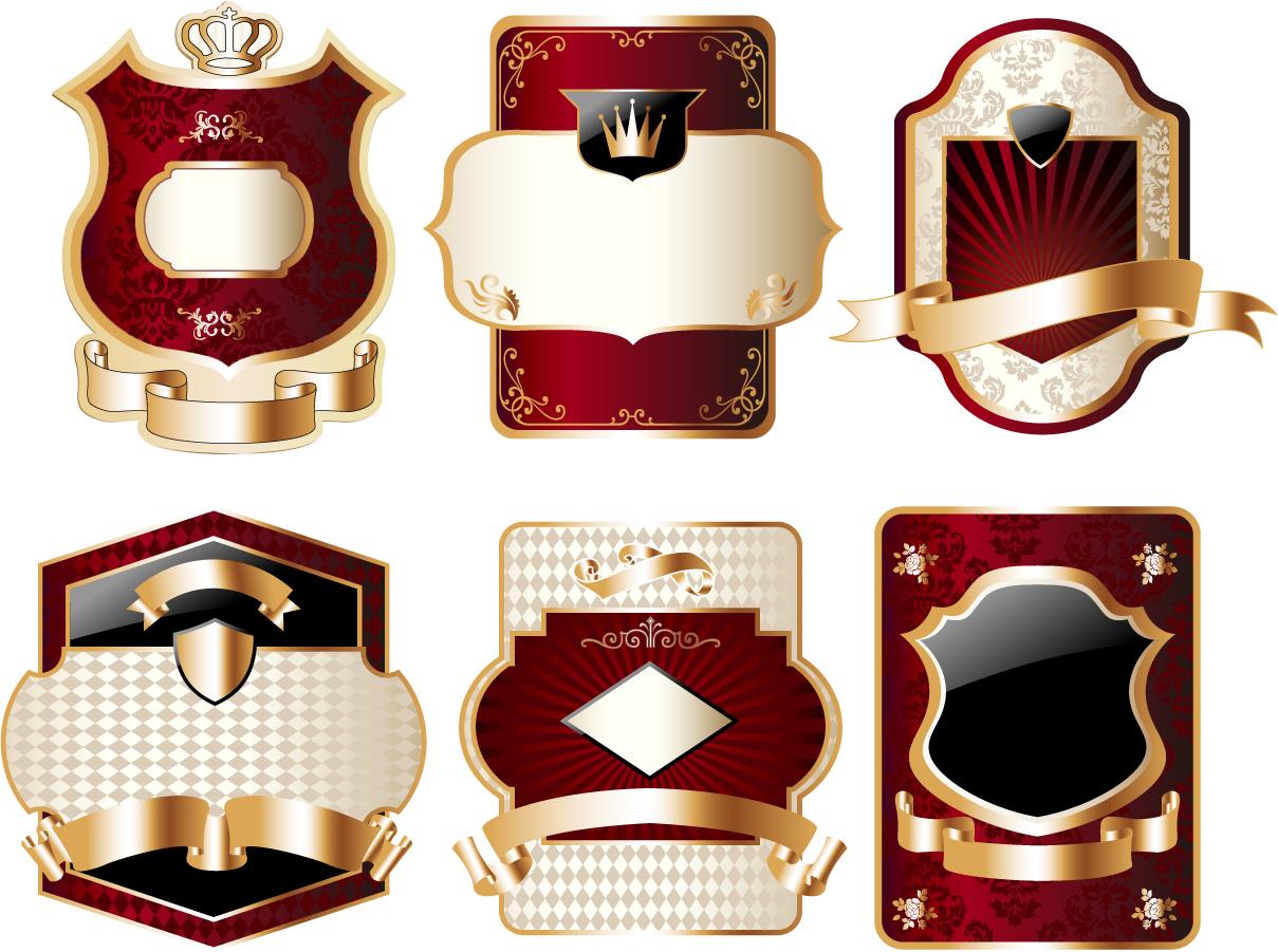 豪華な金縁の盾型ラベル golden luxury shield label  イラスト素材5