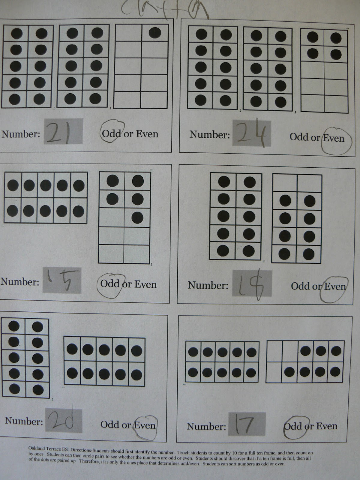 Mrs. T\'s First Grade Class: Odd and Even on a Ten Frame