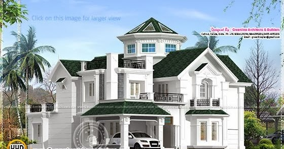 Colonial style house in kerala home kerala plans for Colonial style house plans kerala