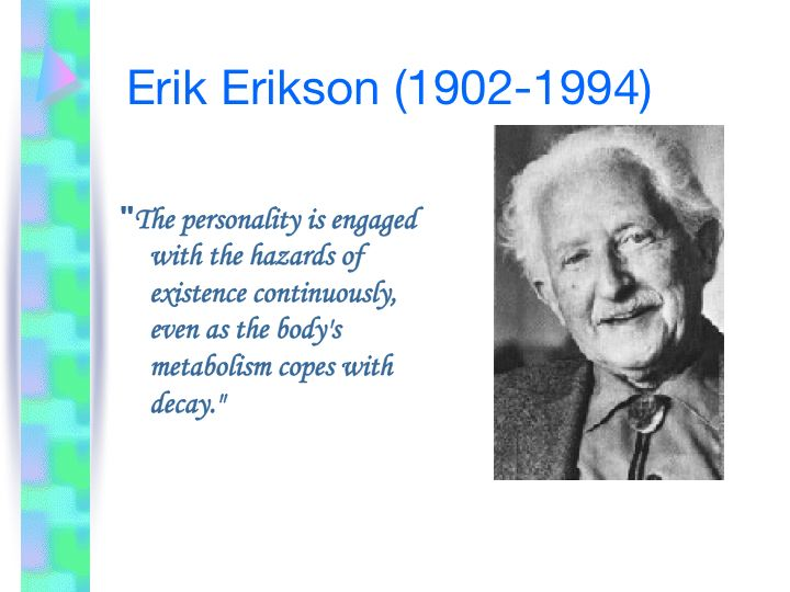erikson theory Erik erikson (1950, 1963) proposed a psychoanalytic theory of psychosocial development comprising eight stages from infancy to adulthood during each stage, the person experiences a.