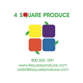 Business Card and Logo For 4 Square Produce