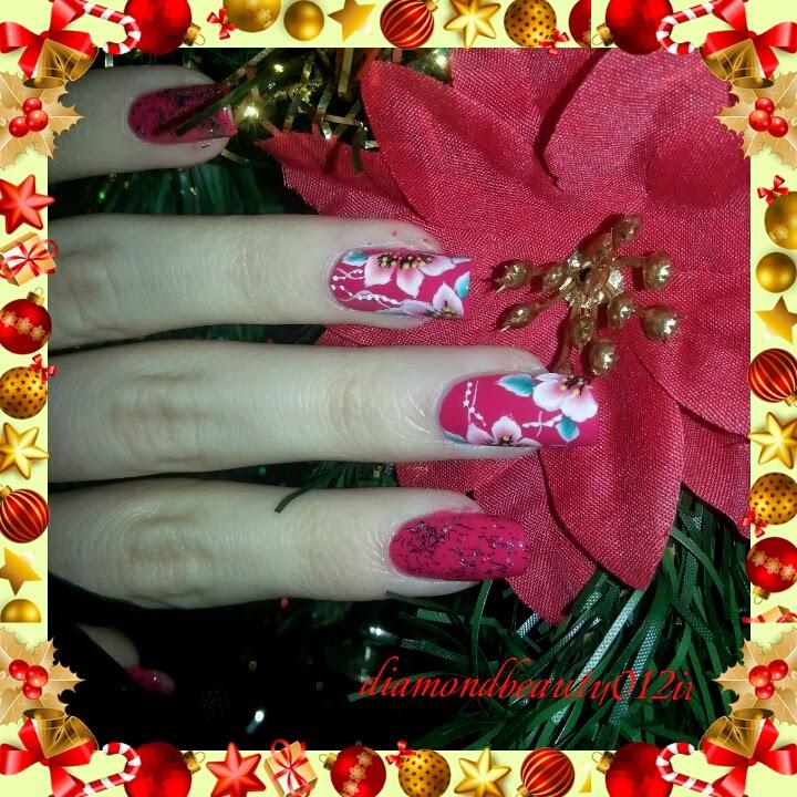 Fiori natalizi decorazione unghie