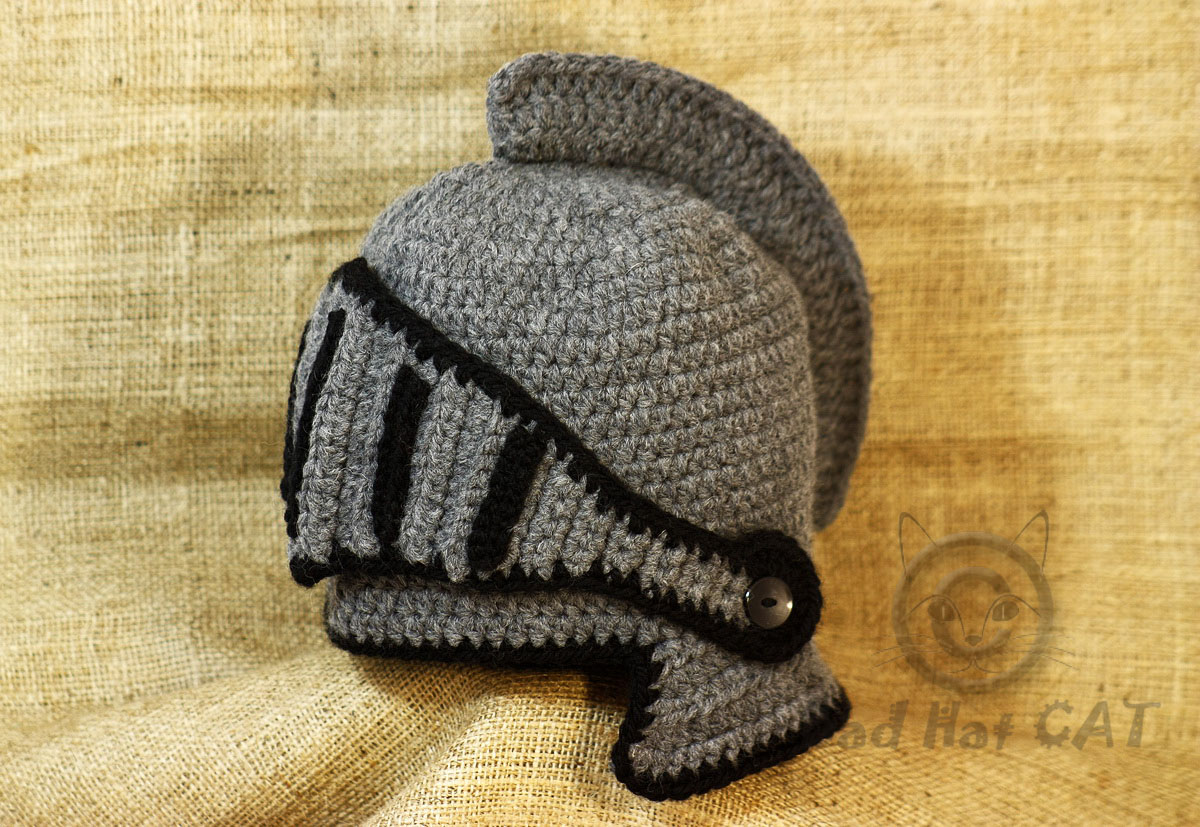 Bad Hat Cat: Medieval hat, Crochet Knight Helmet Hat with Adjustable ...