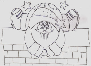 desenho papai noel em cima do muro para pintar