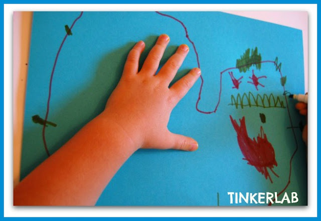 photo of: Monster Drawing from Organic Shape from Tinkerlab (Monster RoundUP via RainbowsWithinReach) 