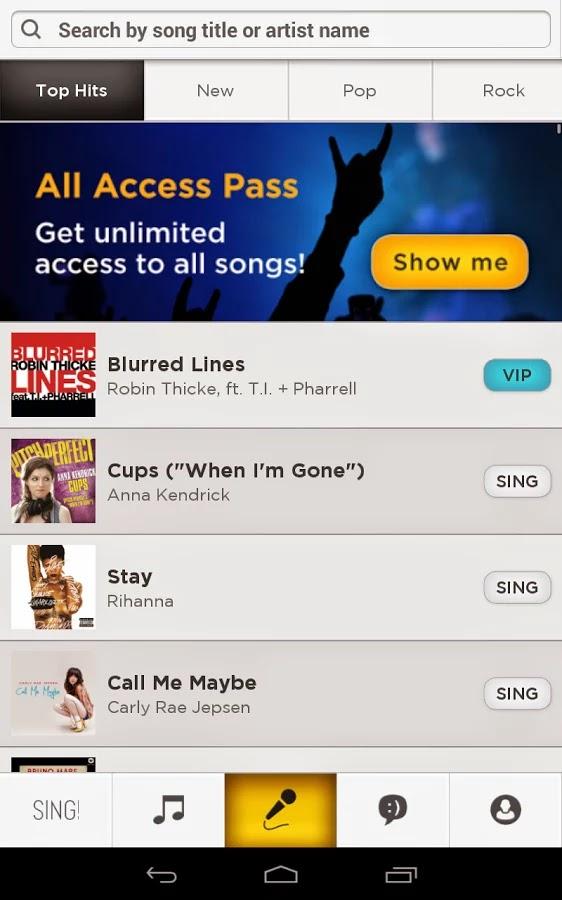 Sing! Karaoke la aplicación para dispositivos móviles