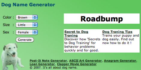 dog name generator roadbump   dr heckle