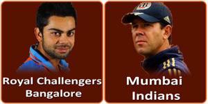 आइपीएल 6 का दूसरा मैच रोयल चैलेन्जर्स बंगलौर और मुम्बई इंडियन्स के बीच M.Chinnaswamy Stadium, Bangalore में होने जा रहा है।