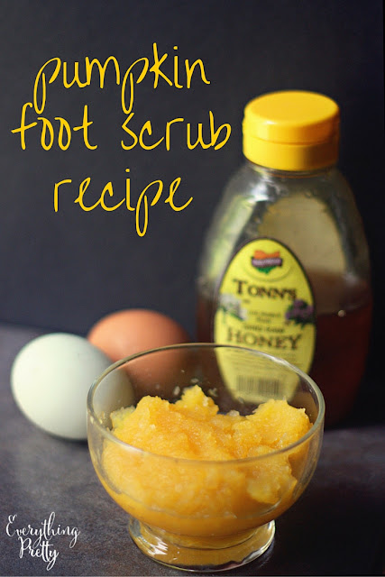 Pumpkin foot scrub recipe with pumpkin puree, egg, and honey.