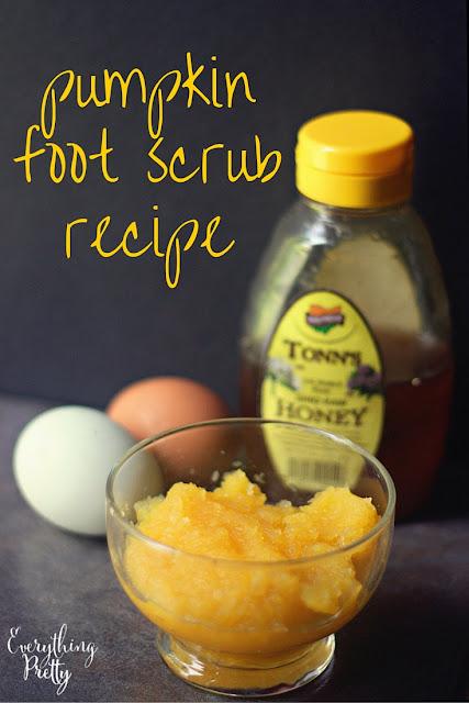 Pumpkin foot scrub recipe with pumpkin puree, egg, and honey.