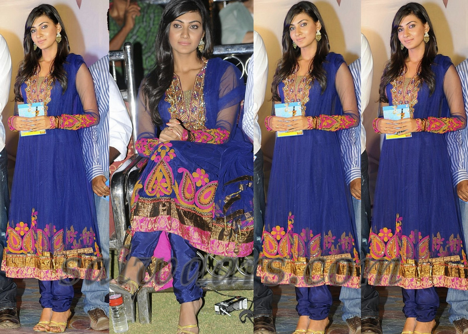 Actress in blue netted full sleeves kameez with patch work border and