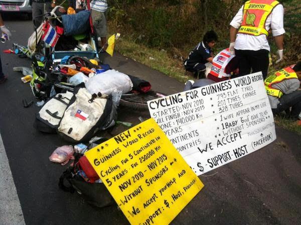 Juan Francisco Guillermo, közúti baleset, kerékpár, világkörüli biciklitúra,