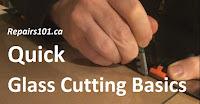 using a glass cutter along a ruler