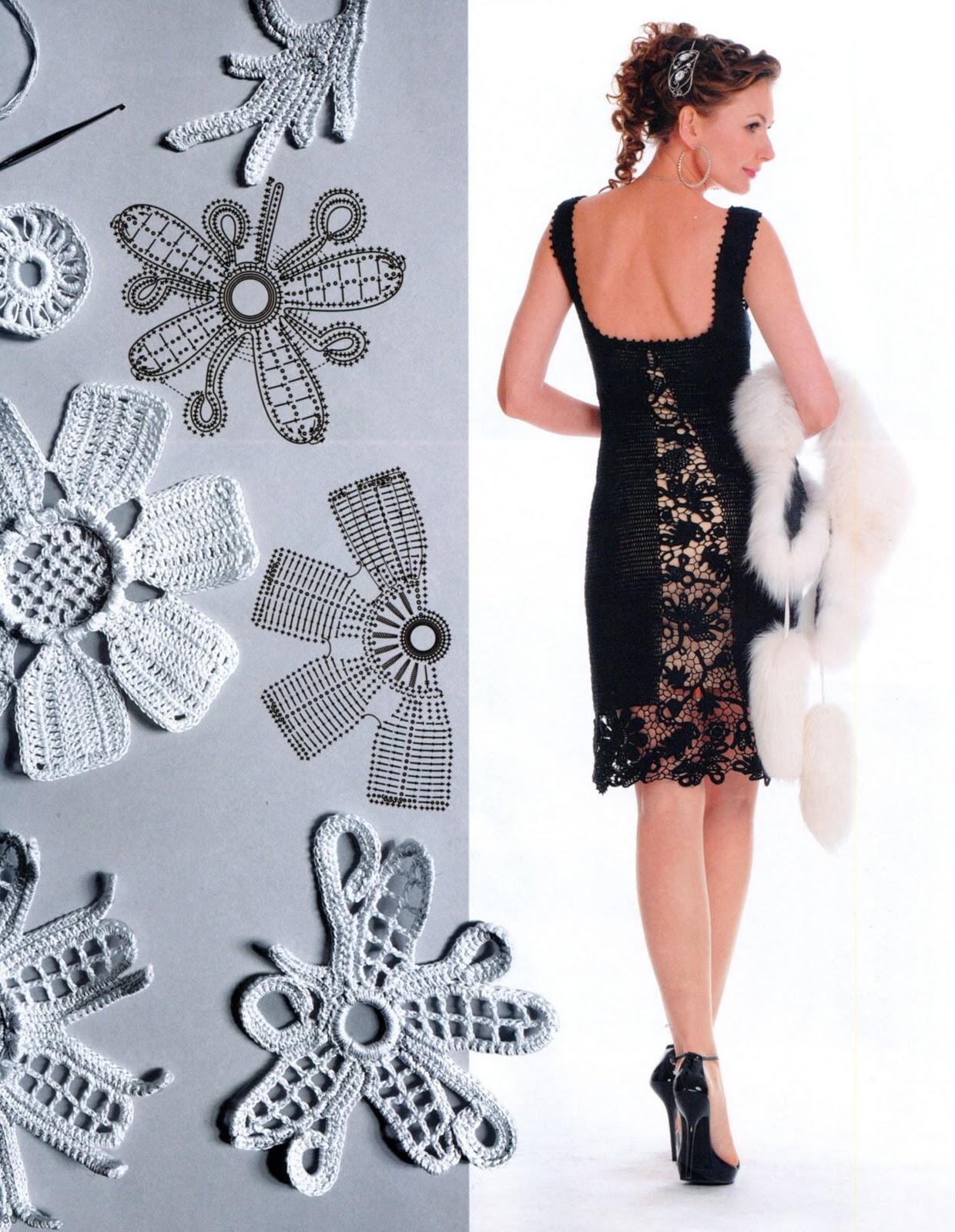 черное мини платье крючком схема