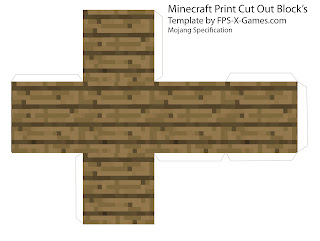 Minecraft wood plank block papercraft cut out