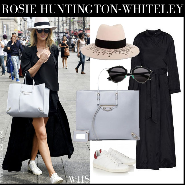 Rosie Huntington-Whiteley black trench coat Barbara Bui Isabel Marant white Bart sneakers Balenciaga grey tote and black Dior So Real sunglasses july 4 what she wore