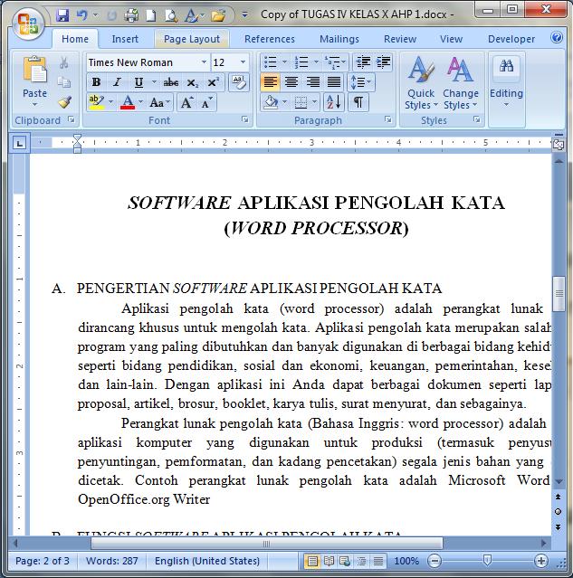 Tampilan Microsoft Office World 2007
