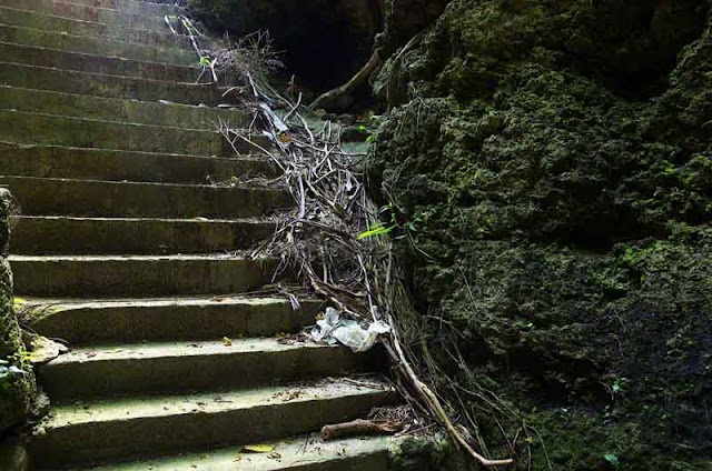 Halloween,broken concrete stairs