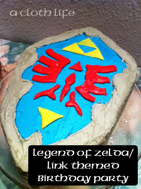 Legend of Zelda/ Link themed birthday party Hylian Shield Cake