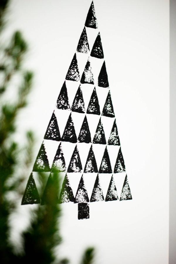 Stempelbaum: DIY Deko für Weihnachten