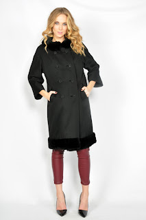 Vintage 1960's black wool princess coat with black fur collar and cuffs.