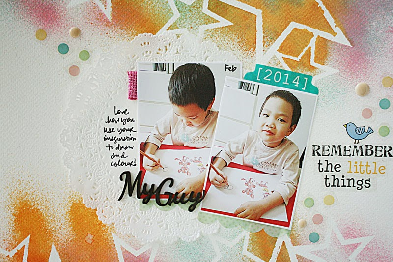 SRM Stickers Blog - Doily Layout by Yvonne - #layout #doilies #stickers #mists