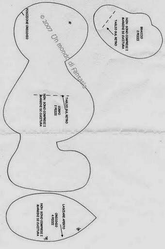 Moldes coelhinho simples de feltro