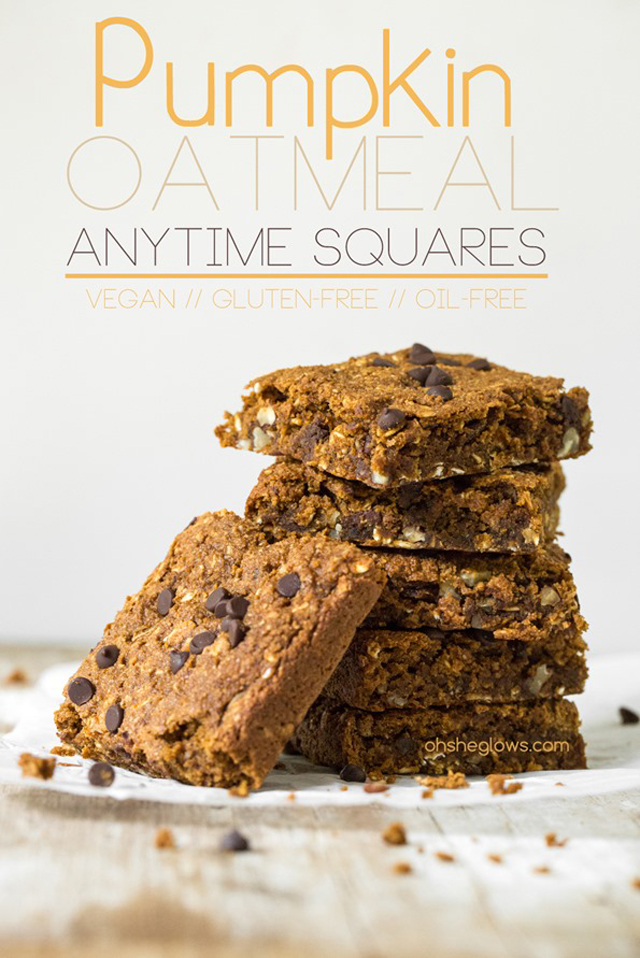 Pumpkin Oatmeal Anytime Squares #pumpkin #oats #oatmeal #Fall #Autumn