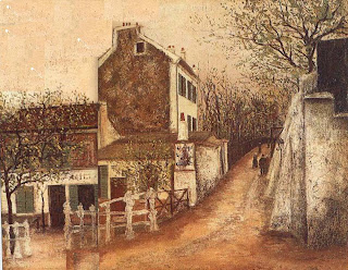 Modigliani arrived in Paris in 1906, and went to live in Montmartre, a haven for artists since the 1880s. The 'dusty and romantic' cabaret, Le Lapin Agile! (depicted here by Utrillo) was where artists gathered to the strains of popular songs. Italian origins