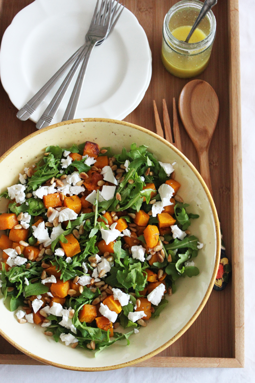 Roasted pumpkin and rocket salad