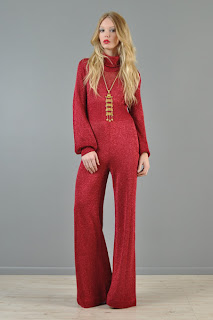 Vintage 1970's red knit bell bottom disco jumpsuit with long sleeves