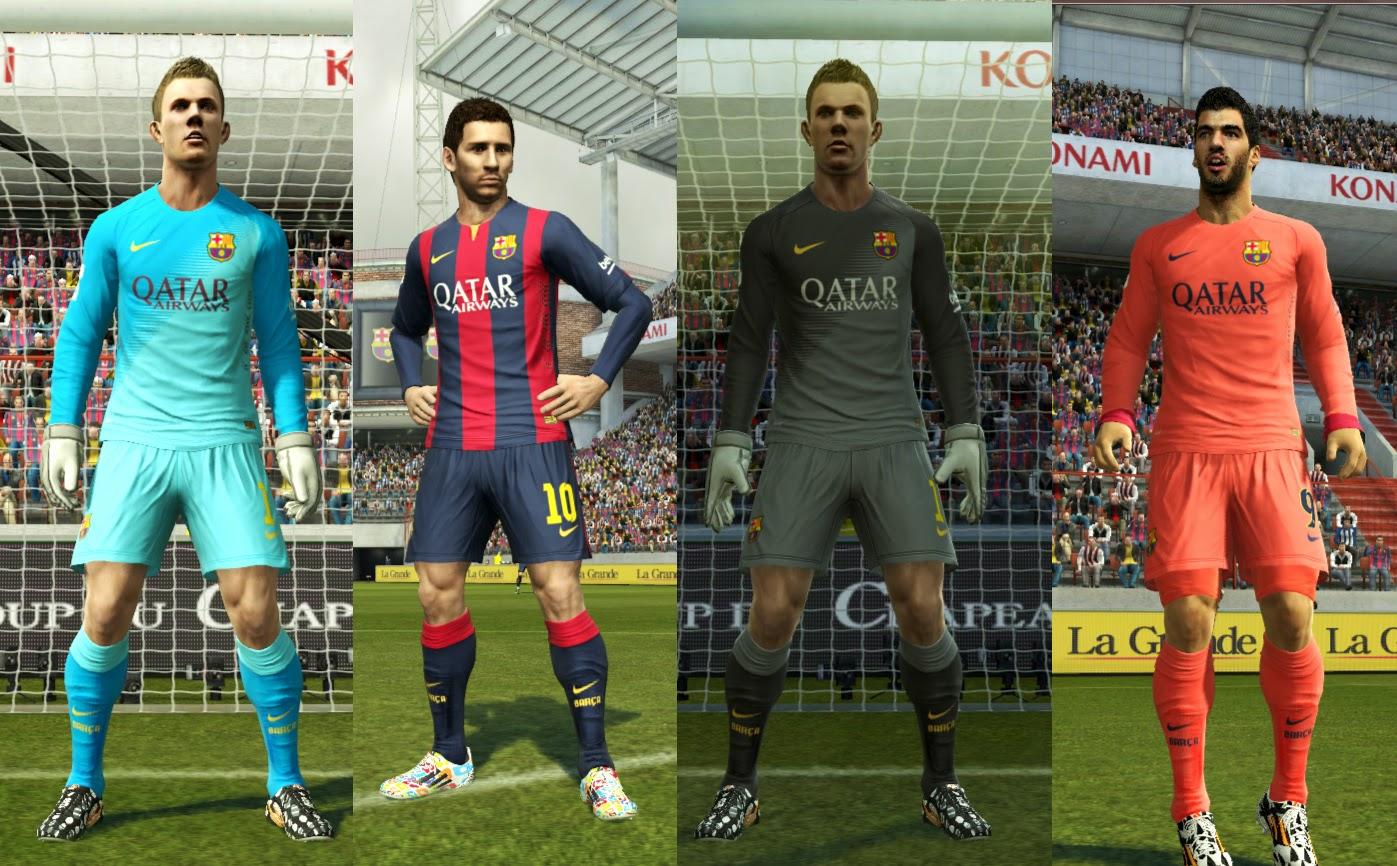 PES 2013 Barcelona FC 2014/15 Kits by GhostOfIkarus