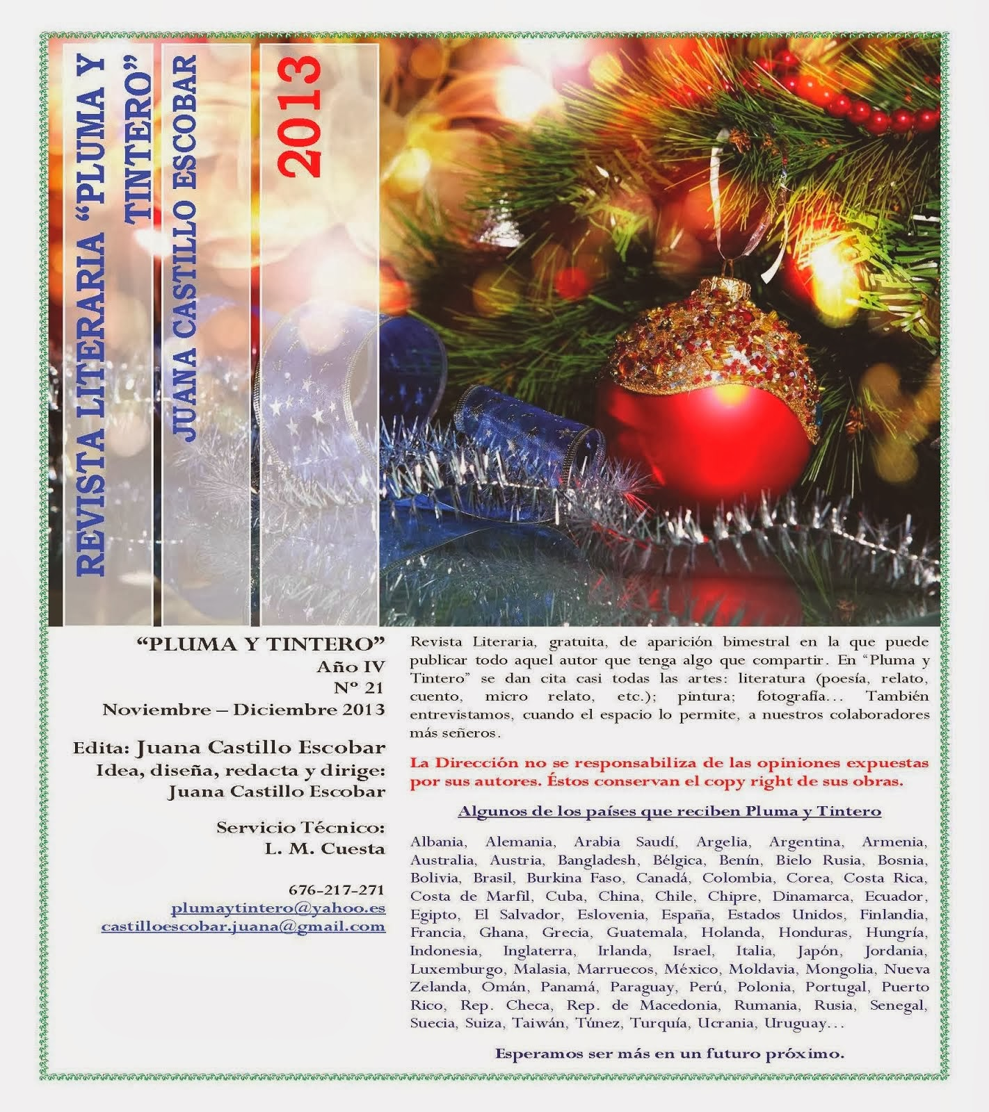 """Revista Literaria """"Pluma y Tintero"""" Año IV n. 21 Noviembre-Diciembre 2013."""