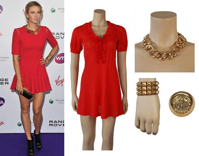 Maria Sharapova Attended A Pre Wimbledon Party In Short Red Dress And Gold Jewelry This Is Simple Y Look That Perfect For Summer