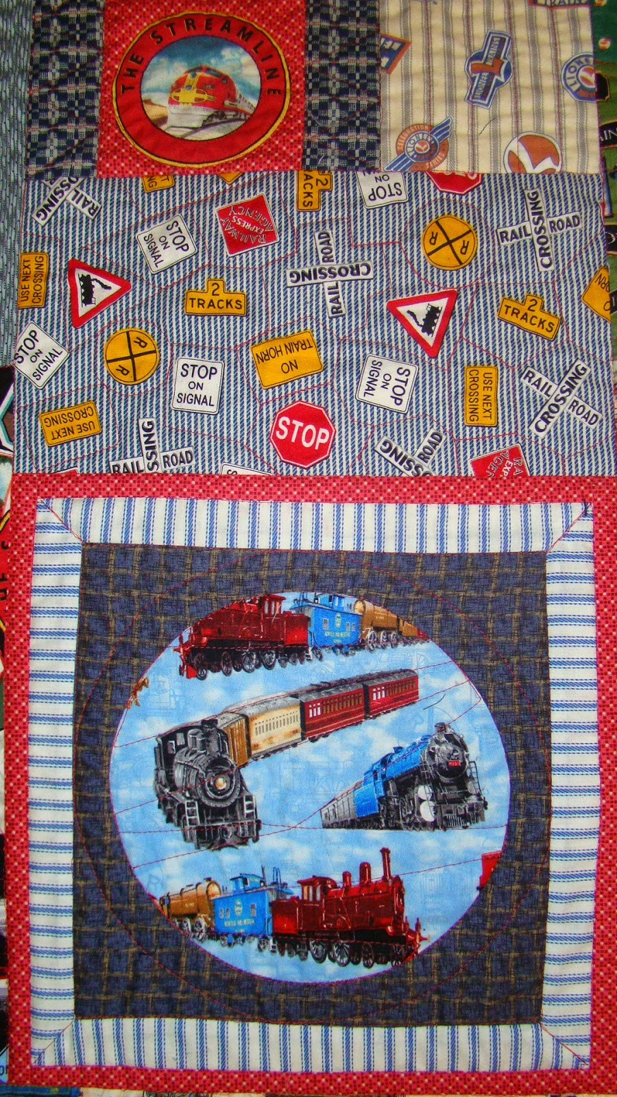 Quiltcrazy for Train themed fabric