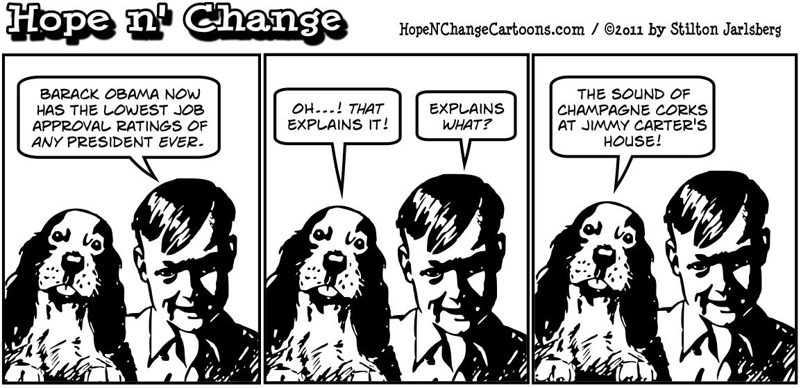 Barack Obama gets the lowest approval poll rating of any president in living memory, hopenchange, hope and change, hope n' change, stilton jarlsberg, political cartoon, tea party