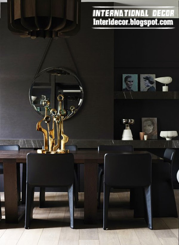 black and dark shades interior design, art deco style in interior