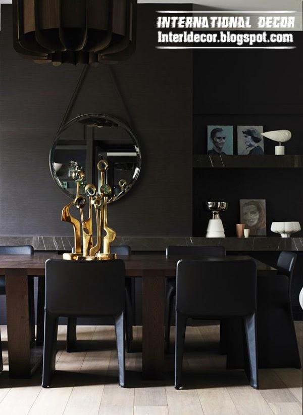 black and dark shades interior design, art deco style in interior