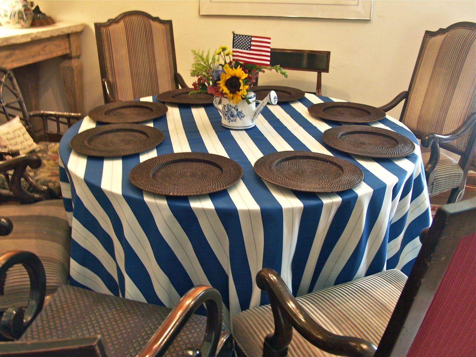 In The Living Room, I Used The Blue And White Stripe Tablecloth That I Made  Using Sunbrella Fabric.
