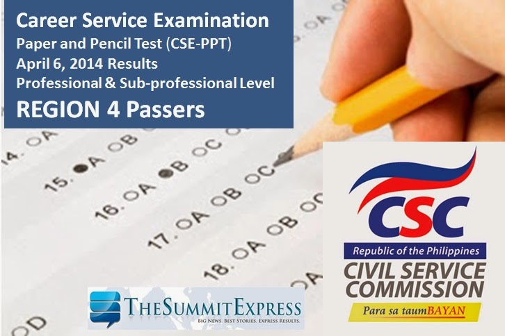April 2014 Civil service exam (CSE-PPT) results Region 4 List of Passers