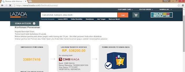 Kode Barang Pemesanan dan Nomor Rekening yang ditransfer