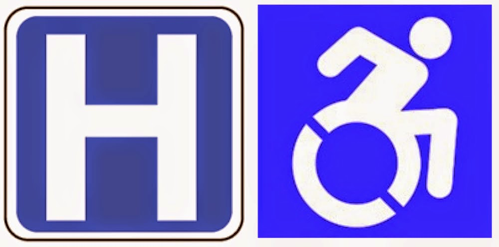 Hospital icon on the left, active wheelchair icon on the right