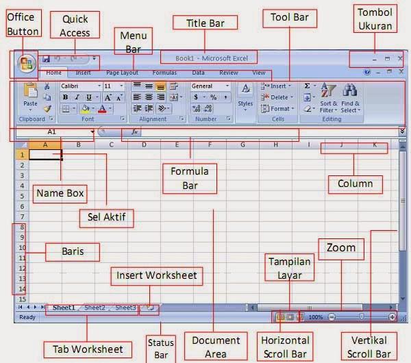 ... Bagian Pada Interface Atau Tampilan Microsoft Excel 2007 Download