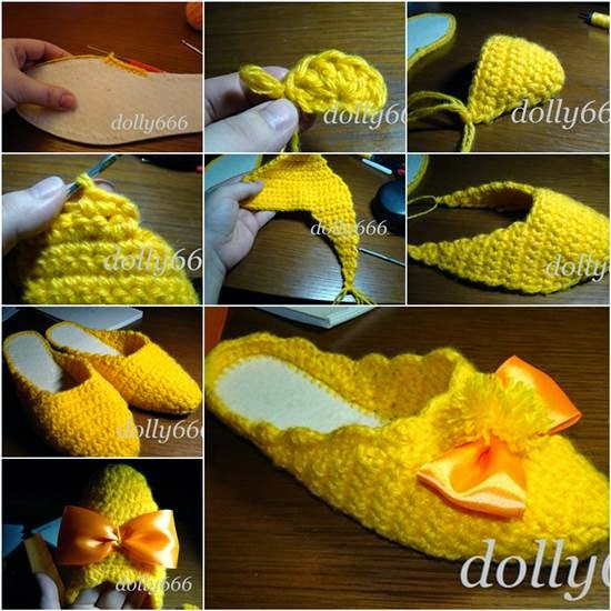 DIY Pretty Crochet Home Slippers