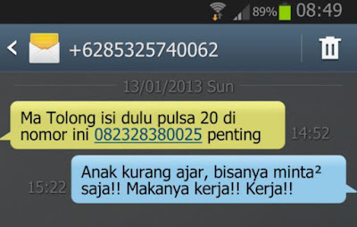 SMS Penipuan Anak minta pulsa