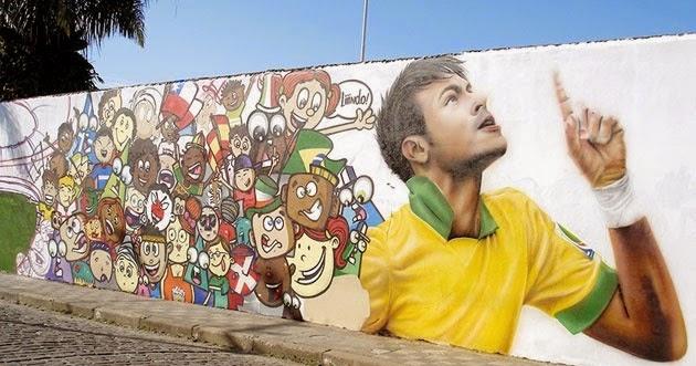 "Neymar Jr homenageado em grafitti - Projeto ""Arte Urbana"""