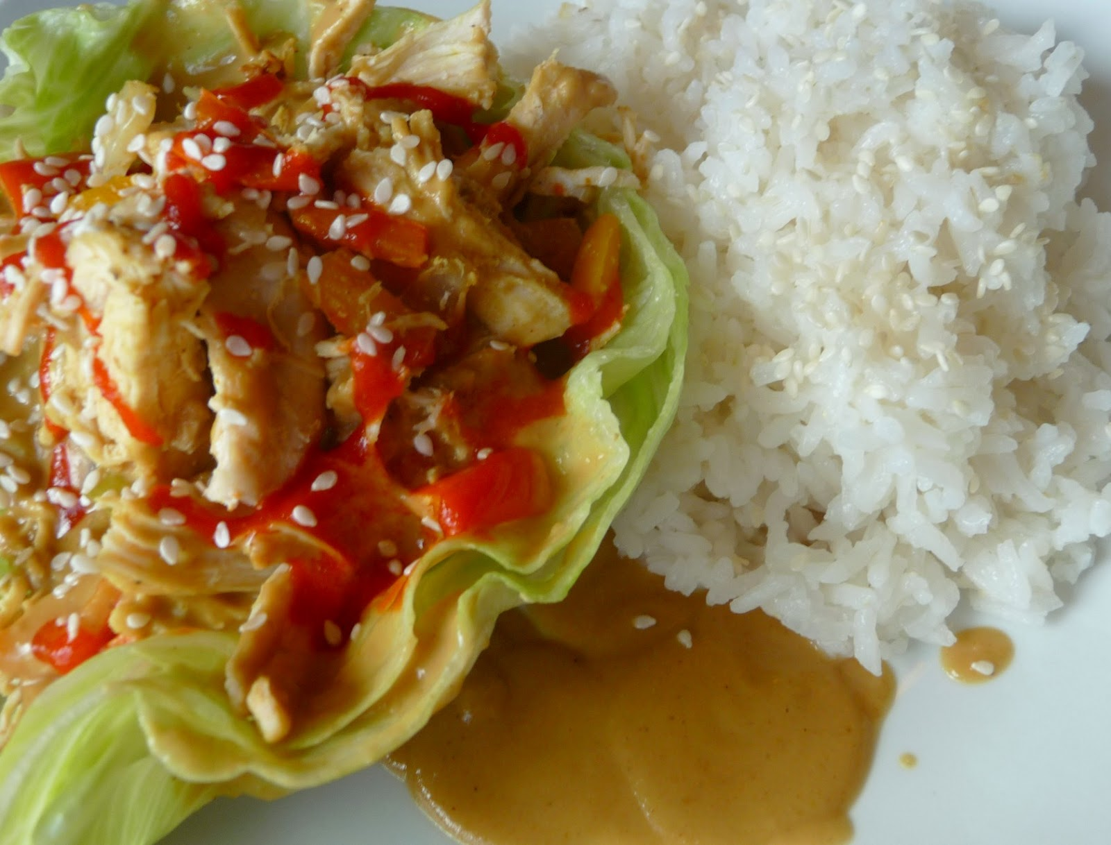 thai peanut chicken lettuce wraps