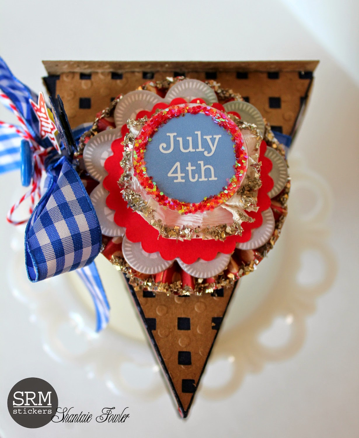 SRM Stickers Blog - Easy as Pie by Shantie - #patriotic #4th of July #altered #gift #stickers #twine #punched pieces