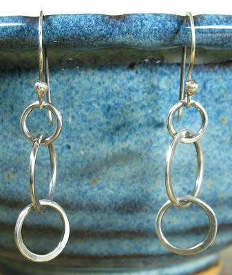Cicada Silver:  Sterling silver linked circles earrings